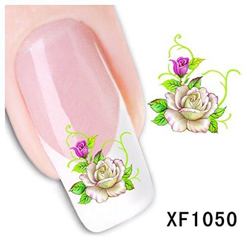 Stickers Pour Ongles stickers décalques à l'eau pour la décoration des bouts d'ongles - Fleur - XF1050 Nail Sticker Tattoo - FashionLife