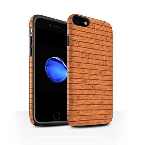STUFF4 Matte Harten Stoßfest Hülle / Case für Apple iPhone 8 / Beige Muster / Holz-Muster Kollektion Orange