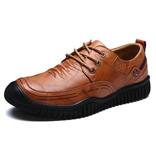 Herren Mokassin Bootsschuhe Rindleder Loafers fahrerschuhe Halbschuhe Slippers Hellbraun-Schnürsenkel