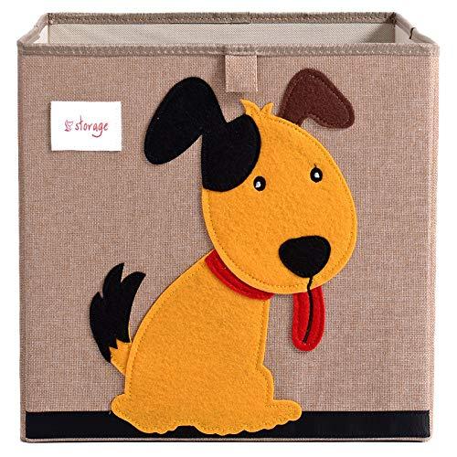 TsingLe Aufbewahrungsbox für Kinderspielzeug, faltbar, Cartoon-Design, Segeltuch, große Kapazität für Spielzeug, Kleidung, Schuhe, 33 x 33 cm, 36 l Hund -