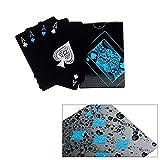 Dohuge Carte da poker impermeabili Carte da gioco nere Premium Carte da poker professionali La classica poker nera imposta il poker di alta qualità in plastica (2 pezzi)