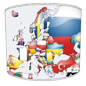 Premier Lampshades–Mapa Techo Bandera de Europa Drum Lamp Shades