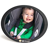 Baby Car Mirror for rear facing child seats, big & clear view of your newborn infant, fits to back seat headrest, by EZ-Bugz