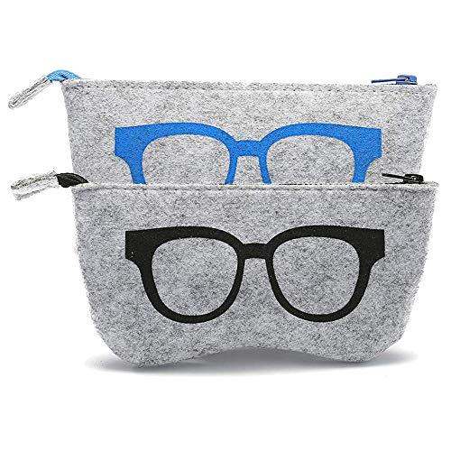 JUTTA Estuche de Gafas para Hombre y Mujer Funda Caja Gafas en 5Colores para Gafas y Gafas de Sol–Caja Modelo: Fieltro en Grande, Unisex Adulto, 1 x Schwarz, 1 x Blau