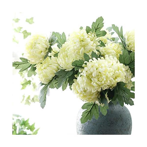 QYYDGH Retro Elegante Hermoso 5 Cabezas Flores de Seda Crisantemo Flores Artificiales Maravillas Otoño Boda Decorativas…