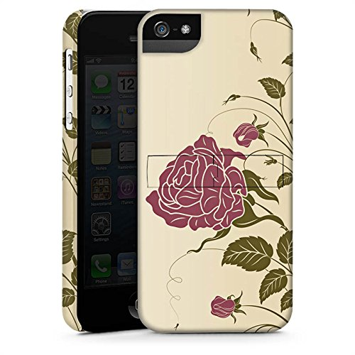 Apple iPhone X Silikon Hülle Case Schutzhülle Rosen Blumenranken Blätter Premium Case StandUp