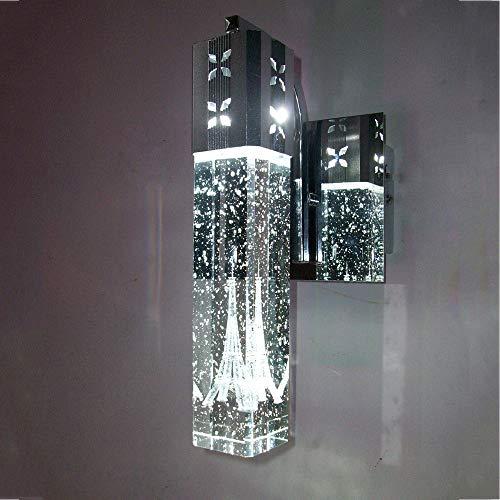 HNZZN Moderne kurze Paris Turm in Blase Kristall LED Wandleuchte Home Deco Schlafzimmer Spalte Aluminium Wandleuchte Leuchte 110/240 V, lila Licht Aluminium Turm