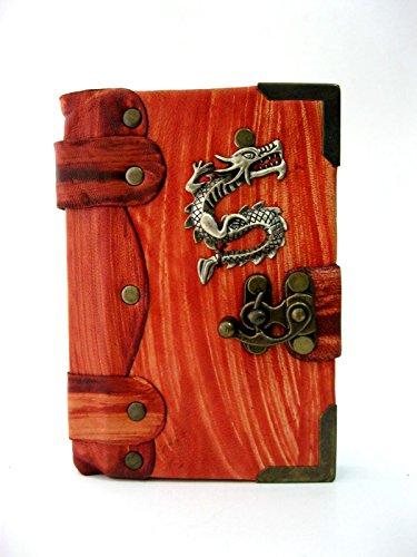 Cuaderno diario de piel con Embleme de Dragon en rojo