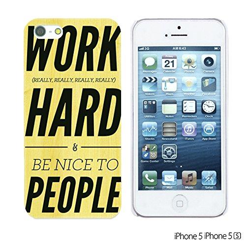 OBiDi - Typography Pattern Hard Back Case / Housse pour Apple iPhone SE / Apple iPhone 5S / 5 - Life Work Hard