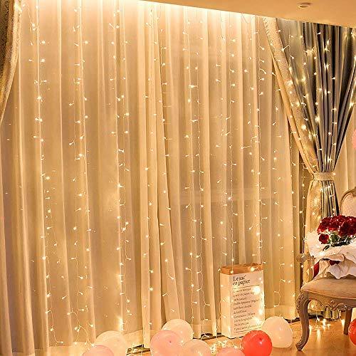 Tenda luminosa, 3 * 3 metro 300 led luci stringa ip65 impermeabile per decorare interni ed esterni, casa, balcone, salotto, giardino,terrazza [classe di efficienza energetica a] (bianco caldo)