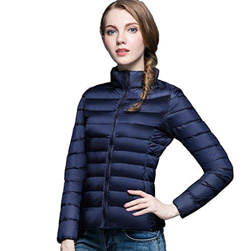 GWELL Damen Ultra Leicht Daunenjacke Winter Mantel Übergangsjacke dunkel blau 2XL