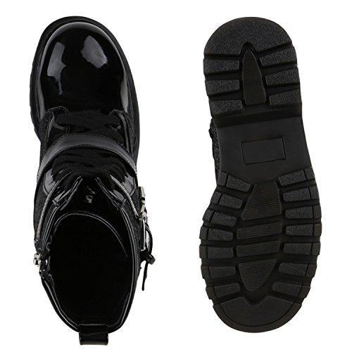 Damen Worker Boots Lack Stiefeletten Grunge Profil Sohle Punk Schwarz Schnalle Glitzer