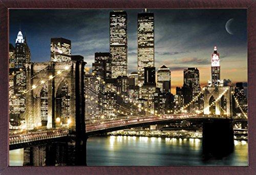 Manhattan-walnuss (New York - Night & Moon - Farb-Foto Manhattan New York Empire State - Grösse 91,5x61 cm + Wechselrahmen, Shinsuke® Maxi MDF Walnuß, Acryl-Scheibe)