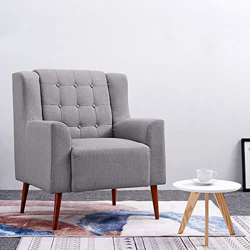 Anaelle Pandamoto Sofa Tissu de lin Moderne Chaise Fauteuil Canapé pour Salle à manger, Salon, Bureau, Taille: 78 x 80 x 96cm, Poids: 20kg, Gris