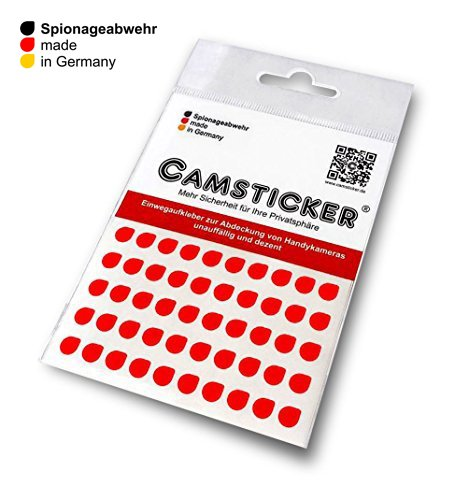 Price comparison product image 50Stk. camsticker ® Security Ø6Mm-Bright Red Gloss sticker for Mini Camera Built-In Webcams for Smartwatch Smartphone / Tablet / Notebook / Laptop / Monitor &Fernseher