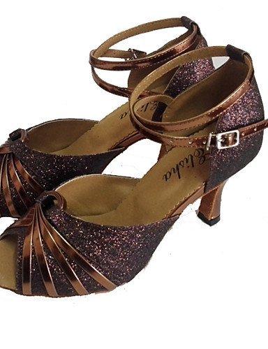 ShangYi Chaussures de danse(Bleu / Marron / Rouge) -Personnalisables-Talon Personnalisé-Cuir Verni / Paillette Brillante-Latine / Salsa Red