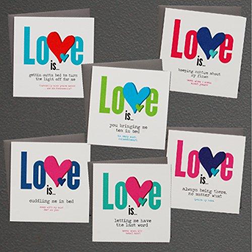 (6Pack Grüße Jahrestag Valentinstag Love sortiert blanko auf der Innenseite Note Karten–Grußkarte Bulk Box Set–6bunte Liebe ist Aufstellkarten mit Gunpowder grau Umschläge enthalten 150mm x 150mm)
