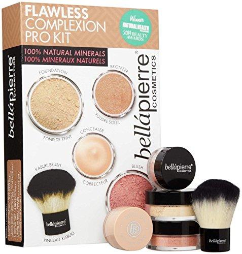 bellapierre COSMETICS Flawless Complexion Pro Kit Fair 5 Fond de Teint, Blush, Correcteur, Poudre Soleil, Pinceau Kabuki