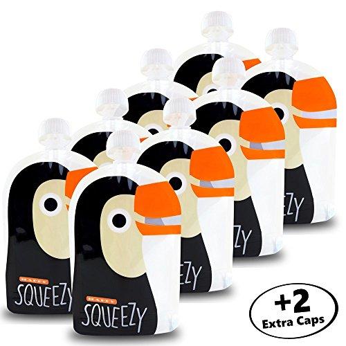 HAPPY SQUEEZY 8er Pack - Wiederverwendbare Quetschbeutel zum selbst Befüllen + Ebook mit Rezepten | BPA frei | Wiederbefüllbare Quetschies | Ideal für selbstgemachte Smoothies, Joghurts, Babybrei Baby Löffel Natural