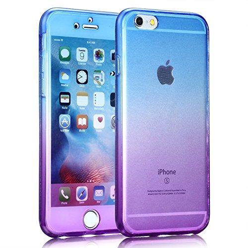 Coque iPhone 6S Plus, SevenPanda Souple Soft Intégrale Avant et Arrière Full Protection 360 Degrés Bling Glitter Scintillement Anti-Scratch Hull Couverture Anti-rayures Ultra Mince Transparente [Absor Coloré - Bleu / Violet