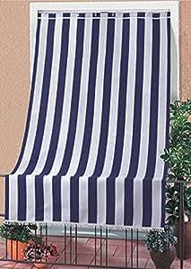Tenda da sole tessuto resistente per esterno con anelli lavabile frange pizzo - Blu