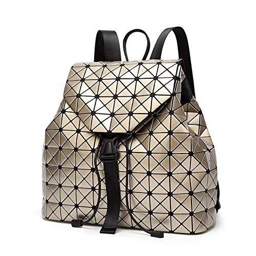 Geometrische Rucksack Laser Rucksäcke Damen Mode Daypacks Schultertasche Travel College Rucksack Reise Schule Rucksack Gold