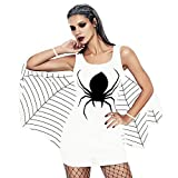 OverDose Damen Spuk Haus Stil Frauen Halloween Spinne Uniform Bat Mantel Klammer Schädel Narben Party Clubbing Cosplay Minikleid