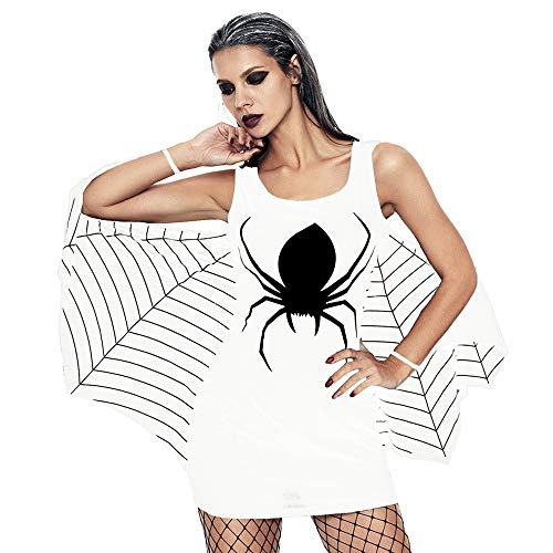 (OverDose Damen Spuk Haus Stil Frauen Halloween Spinne Uniform Bat Mantel Klammer Schädel Narben Party Clubbing Cosplay Minikleid)