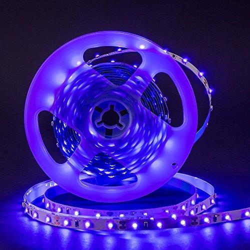 UV Schwarzlicht LED Streifen 5m,300 Stück SMD 3528 UV Licht,DC 12v Lichterkette LED Strip Streifen lila (Wellenlänge Uv-lampe,)