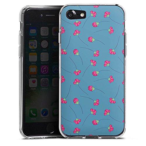 Apple iPhone X Silikon Hülle Case Schutzhülle Blumen Blau Herz Silikon Case transparent