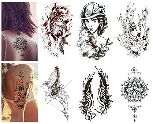 Luxspire Temporäre Tattoo Aufkleber, 6-Pack wasserdicht Abnehmbare Metallic Tattoos Aufkleber Fake Tattoo einfach anzuwenden und langlebig für Männer Frauen Schwarz & Weiß Muster