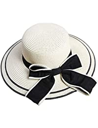 Floppy Sun Sombrero De Paja para Mujer Sombrero Ocasional para El Sol  Elegante Bowknot ala Ancha 7b08adadc29