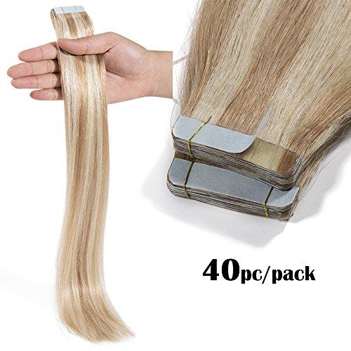 TESS Tape Extensions Echthaar günstig Klebeband Haarverlängerung Remy Human Hair 40 Tressen x 4 cm 100g-60cm(#18/613 Hellgoldblond/Hell-Lichtblond)