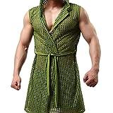KPILP Herrenmode Atmungsaktives Mesh-Oberteil & Slip Unterhemd Unterhosen-Set Bademantel Handsome Morgenmantel(Armeegrün,EU-38/CN-L)