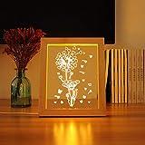 XIAOXINYUAN Kreative USB Nachtlicht LED Nachttischlampe 3D Bilderrahmen Licht Für Kind Geschenk Schlafzimmer Weihnachtsdekor Stil 4