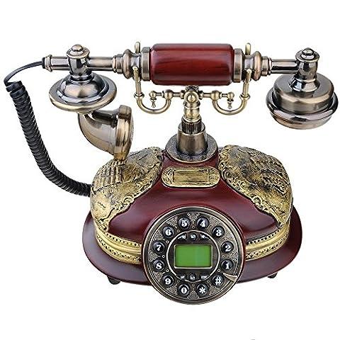 Rétro Design Téléphone Fixe Filaire Téléphonique Vintage Combiné Déco Maison