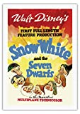 Pacifica Island Art Walt Disney Blancanieves y los Siete enanitos–Primera abendfüllende Producción–Vintage Retro Película c.1937–Impresión (, Lona, 69cm x 102cm Rolled Leinwand