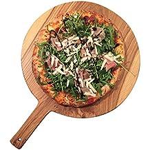 Pizzabrett | Schneidebrett | Durchmesser 30 cm | Wallnuss | Servierbrett mit Griff | Rund