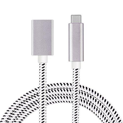 USB C Verlängerungskabel Geflochten auf USB 3.1 Gen 2 [10Gbps / 60W] Typ C Männlich zu weiblich 1.65ft / 0.5m Unterstützung 4K 60Hz Video, Audio, Datensynchronisation, 20V / 3A PD Lade für MacBook Pro, Google Chromebook, Galaxy S9
