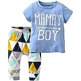 Derouetkia Baby Boys Summer Mama Boy Short Sleeve T-Shirt Tops Geometric Pants Clothes Set (60(0-6 Months))