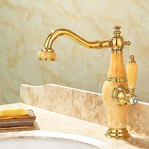 CZOOR Europäische Gold alle Kupfer natürliche Jade Wasserhahn unter Aufsatzbecken antiken heißen und kalten Marmorbecken Hause Wasserhahn A322