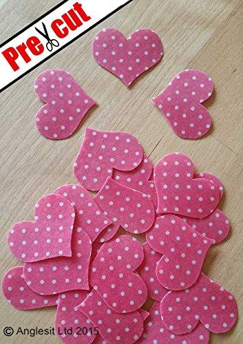 Vorgeschnittene Deko-Herzen zum Dekorieren von Muffins/ Cupcakes, pink mit weißen Tupfen, essbares Reispapier, Oblaten, Esspapier, Partydekoration
