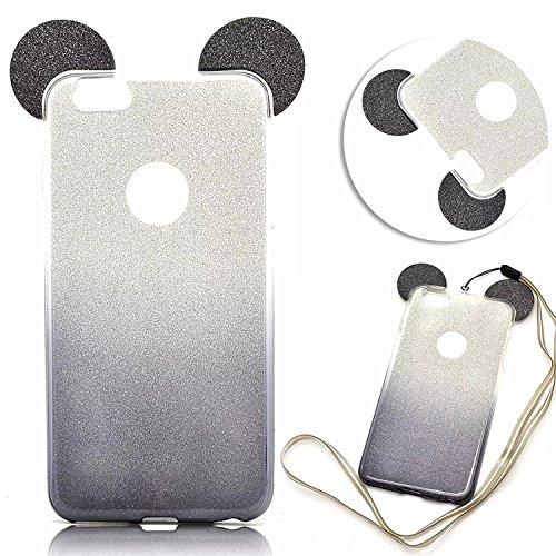 we3dcell (Maus Ohren Fall) mit Aufhängen Seil Cute Lovely 3D Cartoon Animal Design Soft Silikon Back Case Cover für iPhone 6/iPhone 6S (Schwarz) (Iphone 6 Soft Case Cartoon)
