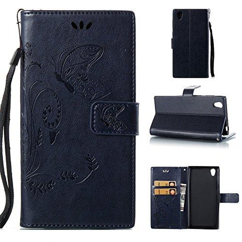 EKINHUI Case Cover Solid Color Faux Leder Bookstyle Brieftasche Stand Case mit geprägten Blumen & Lanyard & Card Slots für Sony Xperia L1 ( Color : Black ) Darkblue