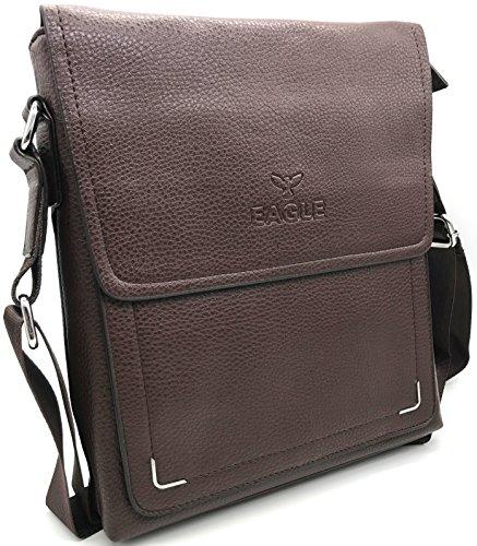 Eagle , Herren Schultertasche Black Leather-008 M Dark Brown - 6322