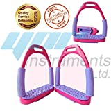 NEW Pink & Purple FLEXI SAFETY BENDY STIRRUPS IRONS STAINLESS STEEL HORSE RIDING