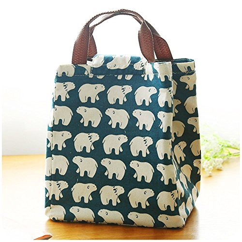 acelec-cute-reusable-cotton-lunch-bag-insulated-lunch-tote-soft-bento-cooler-bag-polar-bear