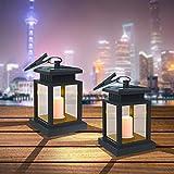 Farol Solar Exterior, Luces Decorativas Lámparas Solares, Linterna Solar LED para Colgar, Impermeable IP44 Automáticamente Encendido con Velas Blanco Cálido Parpadeo Sin Llamas (2 Piezas)
