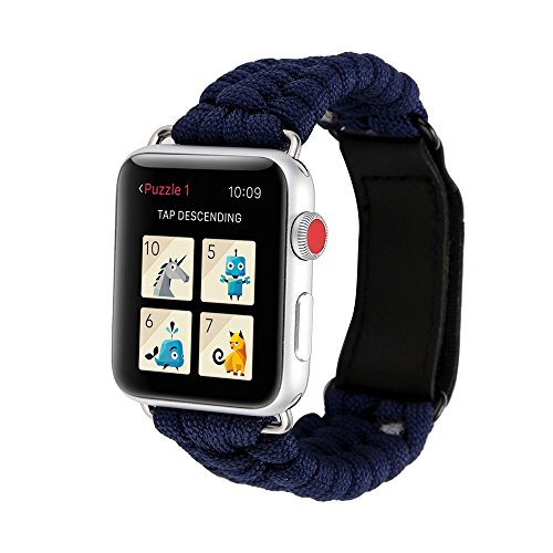 Xbeast Uhrenarmbänder Armband für Apple Watch Serie 1/2/3 42mm - Premium Handgestricktes Seilarmband Ersatzleder im Freien Einfarbig Uhrenarmband Sportarmband (Im Freien Uhrenarmbänder)