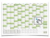 Wandkalender/Jahreskalender 2018, DIN A2 59,4 x 42,0 cm mit Ferienangaben abwischbar gerollt grün
